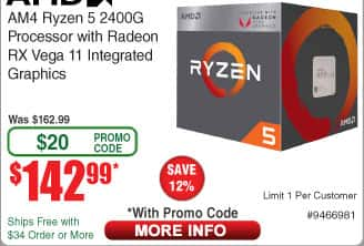 AMD Ryzen 5 2400G Processor $143 AC @Fry's (5/6)