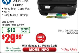 HP OfficeJet 3830 Wireless All-In-One Printer (Black) $30 AC @Frys