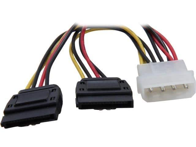 "Coboc SC-PWC-MOL-6-SATA-SS-L 6"" Molex 4-pin LP4 Male to 2 x SATA 15-Pin Female Power w/ Latch Y-Splitter Adapter Converter Cable $3MM AR @Newegg"