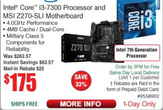 Intel i3-7300 CPU and MSI Z270 SLI Motherboard Bundle $175 AR @Frys