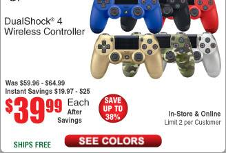 Sony PlayStation Dualshock 4 Wireless Controller $40 @Frys
