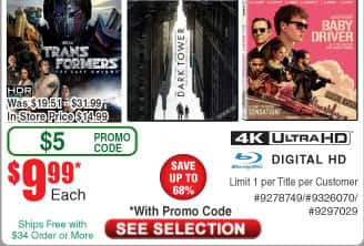 Transformers: The Last Knight 4K UHD BluRay $10 AC@Frys;  Baby Driver, Dark Tower also