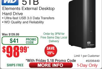WD Elements 5TB External Desktop Hard Drive WDBWLG0050HBK-NESN $99 AC@Frys
