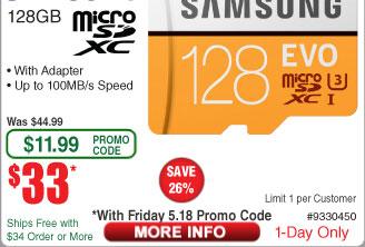 Samsung 128GB MicroSDXC EVO U3 Memory Card w/ Adapter $33 AC @Frys Patriot 3.3ft Lightning Charge+Sync Cabe $2AR