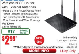Asus RT-N12/D1 Wireless-N300 Router / Access Point / Range Extender $3 AR @Frys