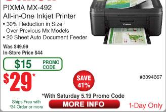 Canon Pixma MX492 Wireless All-In-One Color Printer $29 AC@Frys