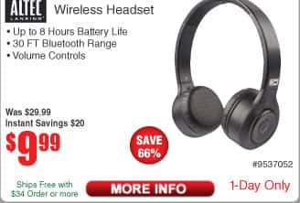 Altec Lansing Bluetooth Headset MZX330-BLK $10 AC @Frys Patriot Fuel Ion 2100mAH Battery Pack Free after $8 Rebate and more