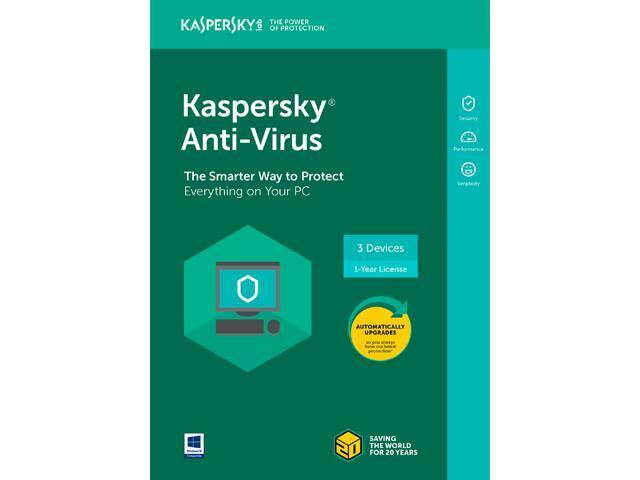 Kaspersky Anti-Virus 2018 - 3 Devices/1 Year [Key Card] + Malwarebytes  (3PC/1Yr) $25 AC @Newegg