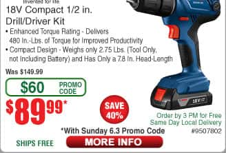 Bosch 18V Drill/Driver Kit w/ 2x Batteries $90 AC @Frys (starts 6/3)