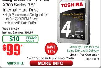 4TB Toshiba X300 7200RPM Hard Drive $99 AC @Frys