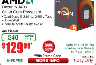 AMD Ryzen 5 1400 Quad Core Processor $130 AC @Frys
