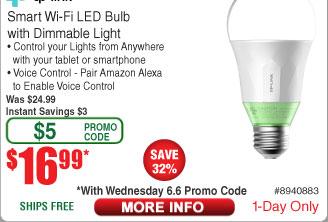 TP-Link Dimmable Smart Wifi Bulb LB110 $17 AC w/FS @Frys