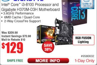 Intel Core i3-8100 CPU and Gigabyte H370M-D3H H370 Motherboard Bundle $129 AR @Frys