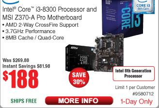 Intel Core i3-8300 Processor + MSI Z370-A Pro Motherboard $188 @Frys