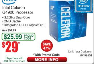 Intel Celeron G4920 Processor LGA 1151 300 Series $29AC @Frys