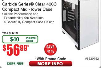 Corsair Carbide Clear 400C White Steel ATX Mid Tower Case $57 AC @Frys