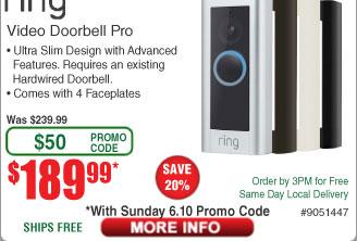 Ring Pro Wi-Fi Enabled Full HD 1080P Video Doorbell $190AC @Frys