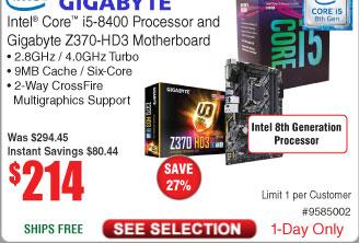 Intel Core i5-8400 Desktop Processor and Gigabyte Z370-HD3  Motherboard $124 AC @Fry's