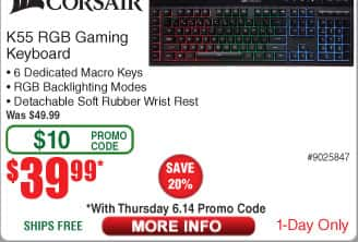 Corsair K55 RGB Gaming Keyboard $40 AC@Frys
