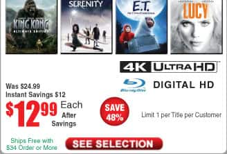 Serenity or ET: the Extra-Terrestrial (4K Ultra HD + Blu-ray + Digital) @Frys (starts 6/17)  also Lucy, King Kong (Ultimate Edition)
