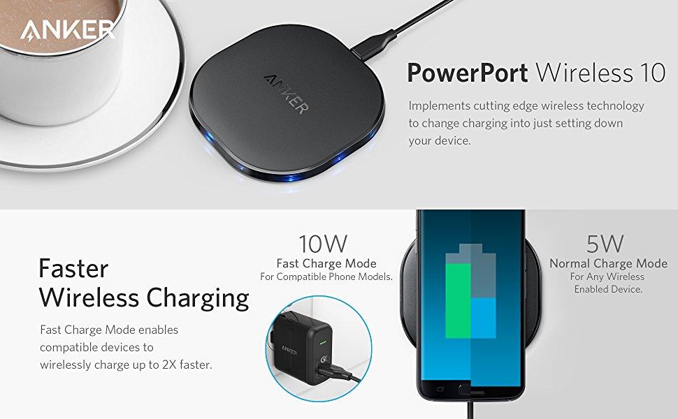 10W Anker PowerPort Wireless 10 Qi-Certified Wireless Charging Pad $15 AC @Amazon.