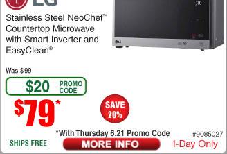 LG 0.9 Cu. Ft. NeoChef™ Countertop Microwave w/ Smart Inverter SS $79AC w/FS @Frys
