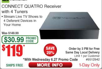 HDHomeRun CONNECT QUATRO Receiver with 4 tuners $119 AC @Frys