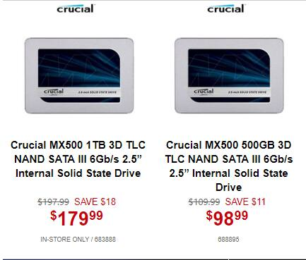 """1TB Crucial MX500 2.5"""" SSD $180 or less @Microcenter (pickup)  500GB / $99"""