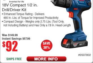 Bosch 18V Drill/Driver Kit w/ 2x 1.5-Ah SlimPack Batteries $92