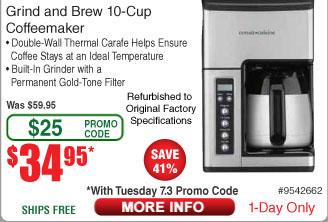 Cuisinart CC-10FR Grind & Brew 10-Cup Coffeemaker $35 AC w/FS @Frys