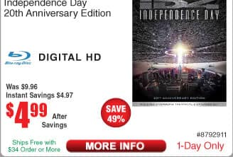 Independence Day 20th Anniversary Edition (Blu-ray) $5 @Frys