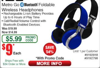 Naxa Metro Go Bluetooth® Foldable Wireless Headphones - Black or Blue $9 AC @Frys