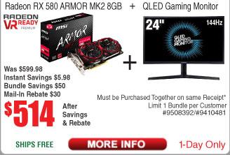 """MSI RX580 Armor Mk2 8GB Video Card  + 24"""" Samsung QLED Monitor $514 AR @Frys"""