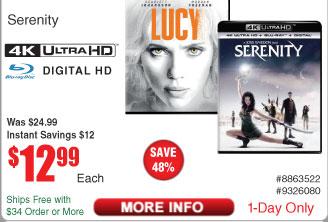 Serenity [4K UHD] [Blu-Ray] [Digital] $13 @Frys Lucy [4K UHD] [Blu-Ray] [Digital]