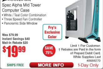 Corsair Carbide Spec Alpha Mid Tower Gaming Case $20 AR @Frys
