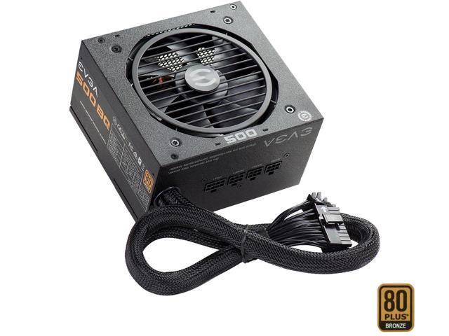 500W EVGA 500 BQ 80Plus Bronze Semi-Modular Power Supply $30 AR @Newegg