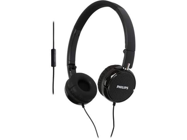 Philips FS3MBK  On-Ear Headphones w/Mic $8 AC @Newegg