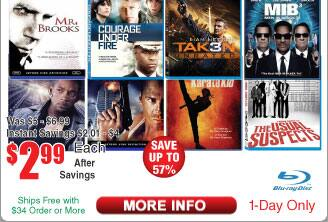 $3 BluRays:@Frys titles incl  Die Hard, I Robot,  Taken 3, Courage Under Fire , MIB 3