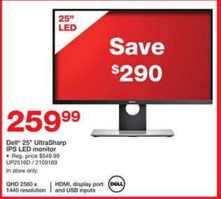 "25"" Dell UltraSharp UP2516D WQHD IPS LED Monitor $260 @Staples (in-store)"