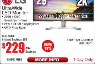 "LG 29"" UltraWide® Full HD IPS LED Monitor with HDR 10 $229 AC @Frys"