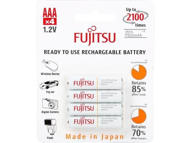 Fujitsu AAA 800mAh 2100 Cycles Ni-MH Pre-Charged Rechargeable Batteries 4-Pack $3 AC @Newegg