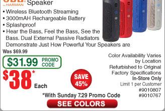 JBL Flip 3 Portable Bluetooth Speaker *RFB* $38 AC @Frys