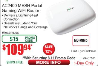 Razer ZeroWait AC2400 Dual-Band Mesh Portal WiFi Router $110 AC @Frys