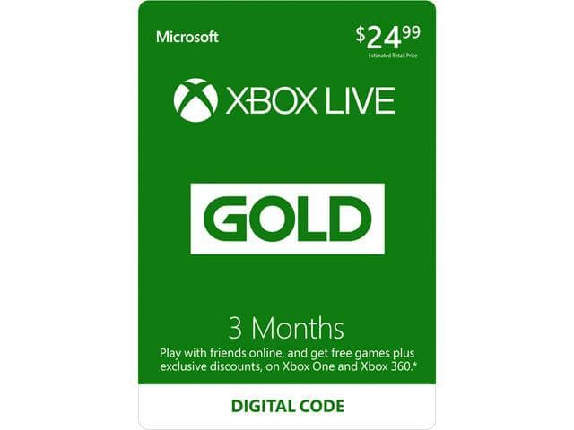 Xbox LIVE 3 Month Gold Membership (Digital Code) + $10 XBox GC $22 AC @Newegg