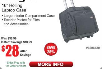"Targus 16"" Rolling Laptop Case - Black $28 @Frys"