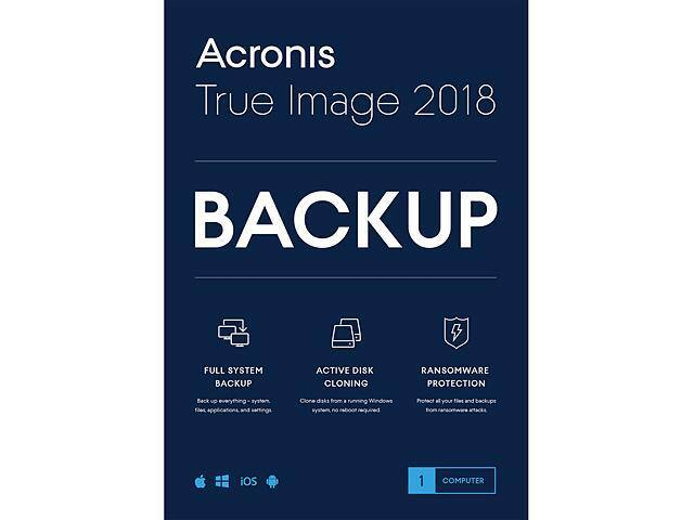 Acronis True Image 2018 - 1 Device (Retail Box) Free after $30 Rebate @Newegg