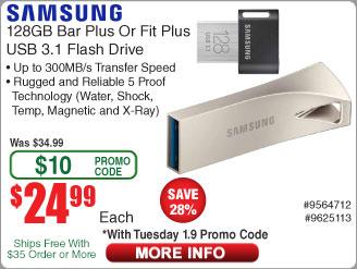 128GB Samsung Fit Plus USB 3.1 Flash Drive $25 AC @Frys