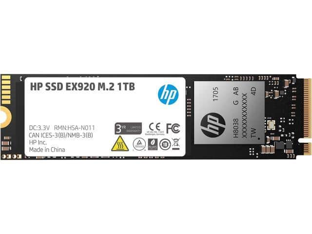 HP EX920 M.2 1TB PCIe 3.0 x4 NVMe 3D NAND SSD $152 AC @Newegg