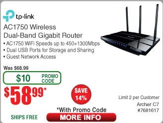 TP-Link AC1750 Archer C7 WiFi Gigabit Router $59 AC @Frys
