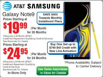 AT&T Samsung Galaxy Note9 $600 (24 | 30mo) @Frys (in-store)